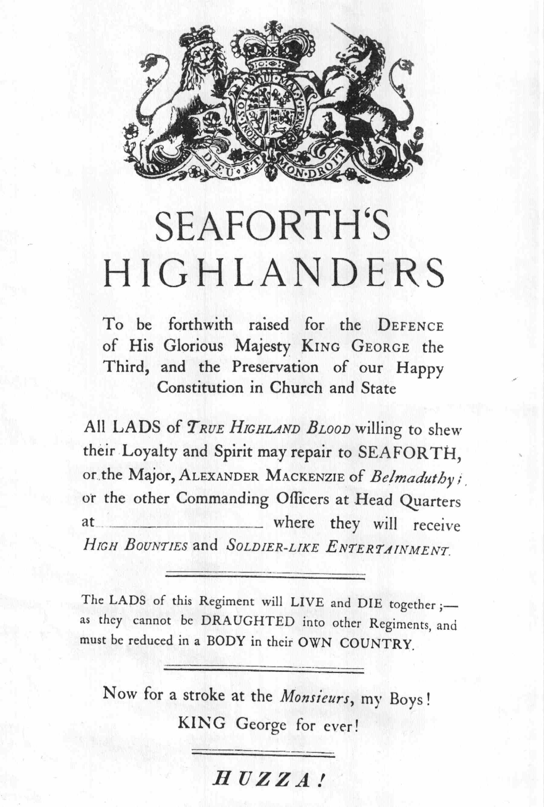 Seaforth Highlanders Recruiting Poster 1793